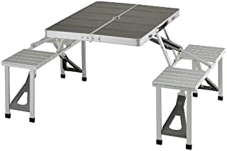 BUNDOK(バンドック) アルミ レジャー テーブル BD-145BK セット チェア 折りたたみ式 コンパクト収納【3~4人用】