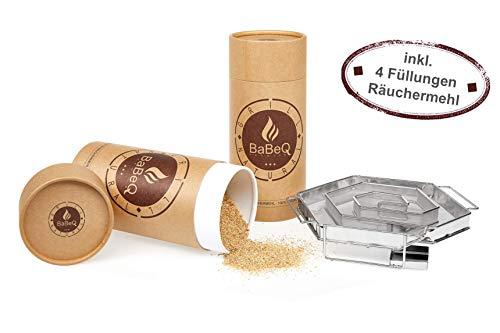 BaBeQ Premium Kaltraucherzeuger V1 Edelstahl für 12 Std Kaltrauch   Räucherschnecke Sparbrand Kaltrauchgenerator, Starter-Set