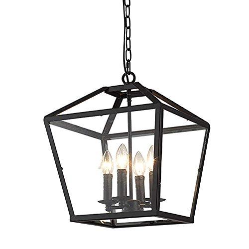Hanglamp voor binnen, industriële hanglamp, vierkant, lantaarn met 4 lampen, industriële stijl, hanglamp voor binnen, hal, eetkamer, restaurant