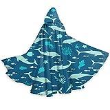 DPQZ - Capa con capucha para Halloween, diseño de marina, silueta, delfines, conchas marinas, bruja, Navidad, adultos, cosplay, fiesta, disfraces