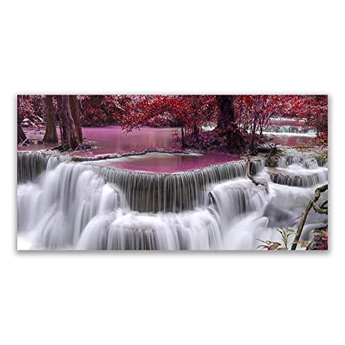 Tulup Impression sur Verre Trempé 120x60cm - Plastique Imprimés Tableau Mural Moderne Décoration Déco Design 4 Crochets - Watterfall Nature Arbre