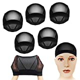 CODOHI 5 Packs Dome Wig Cap to Control Hair Under Wig for Comfort - All Round Spandex Net Elastic Weaving Mesh Full Wig Cap for Men Women - Black