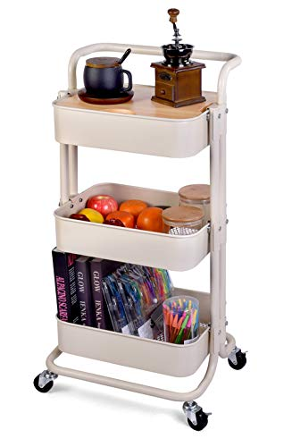 Movable Storage Utility Rolling Cart Rolling End Table for Organization Fit for Home Kitchen Living Room and Bath Room Cream