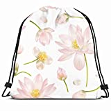 DHNKW Drawstring Backpack String Bag 14x16 Flower Homeopathy Botanical Pattern Bud Pink Healthcare Medical Nature Floral Yoga White Cosmetic Fragrance Sport Gym Sackpack Hiking Yoga Travel Beach