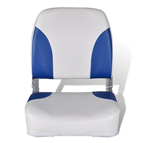Festnight Asiento de Barco con Respaldo Plegable Almohada Color de Azul y Blanco Material de PU/PVC