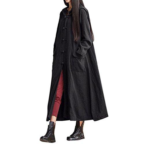 Trenchcoat Dasongff damesjack met capuchon, lang, linnen, lange mouw, oversized mantel trenchcoat (S, zwart)