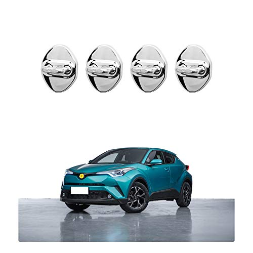【CDEFG】トヨタC-HR ZYX10 / NGX50 専用 ドアストライカーカバー ドアロックカバー 4枚セット 赤/青/黒/銀/ (銀)