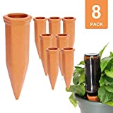 vensovo 8pcs Terracotta Watering Spikes - Automatic Self Watering Stakes, Plant Watering Devices for Wine Bottles Recycled Bottles, Clay Plant Garden Waterers for Vacations
