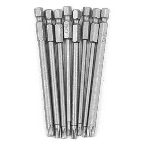 tellaLuna Juego de 8 puntas de destornillador Torx magnéticas huecas de 1/4 pulgadas, destornillador de vástago hexagonal, herramientas eléctricas T8-T40, 100 mm