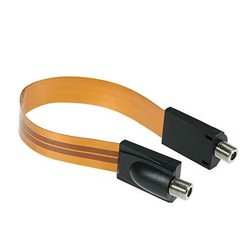 OWSOO Extrem dünne Flache Stromkabel F-Stecker passt unter Türen Windows ohne Bohren 26cm lang + F männlich Kamera Power Input/Output Adapter Kabel Verlängerung Linie