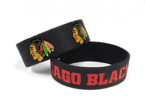 NHL Chicago Blackhawks Silicone Rubber Bracelet, 2-Pack