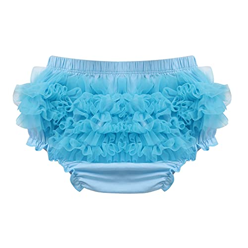 YONGHS Infant Baby Girls Bloomers Diaper Covers Shorts Briefs Ruffled Cute Cotton Underwear Sky Blue 12-24 Months