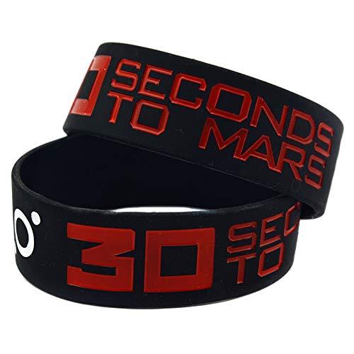 YLH Pulsera 30 Seconds To Mars Banda De Rock Pulsera De Silicona con Una Estrella Debe Ser Una Mano De Ayuda (Color : Black)