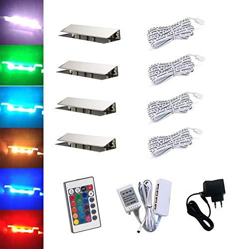 ACCE LED RGB Glaskantenbeleuchtung Glasbodenbeleuchtung Vitrinenbeleuchtung Clip Glas höchste Qualität Spiegel Edelstahl (4er)