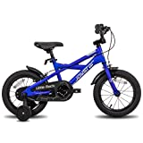 STITCH Little Rock - Bicicleta infantil de 18 pulgadas para niños y niñas, de 5 a 9 años, con ruedines, rueda delantera, freno de mano, marco azul