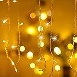 Qedertek 432 LED Cascata Luci da Esterno, 10M Tenda Luminosa Bianco Caldo, Luci Nataliazie da Esterno con Telecomando, Tenda led con 8 modalità, Luci Decorazione Natale per Feste, Finestra, Blacone