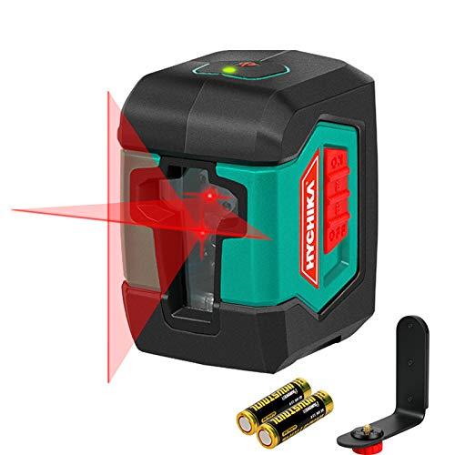 Kreuzlinienlaser 15M, HYCHIKA Selbstnivellierend Linienlaser mit Dualem Lasermodul 360°Umschaltbar Horizontal/Vertikal mit Halterung, Schutztasche und 2 x AA Batterie