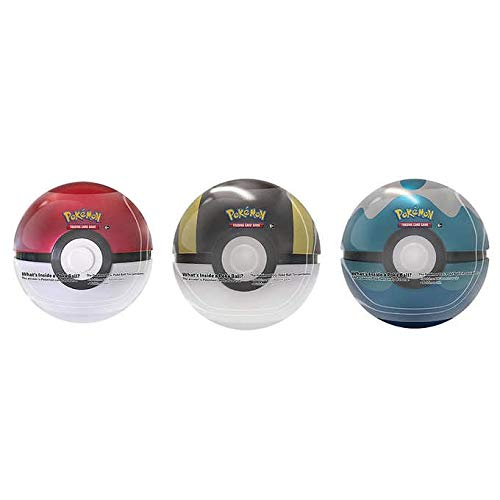 Pokemon Pokeball Tins & Trading Cards 3 Pack Assortment - Colors May Vary