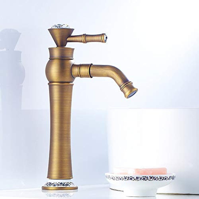 RNJDC Waschtischarmatur Bad Waschbecken Wasserhahn - Weit Verbreitet Antik Kupfer Galvanisiert Centerset Einhand EIN Loch Badarmaturen