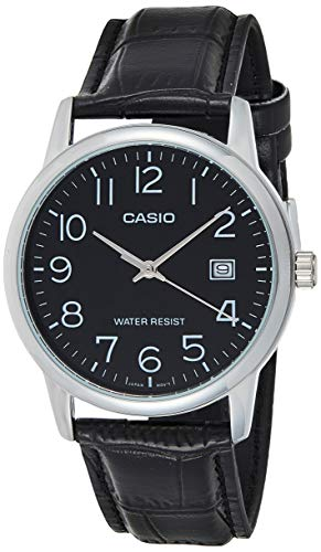 Casio #MTP-V002L-1B Men's Standard Analog Leather Band Easy Reader Day Date Watch