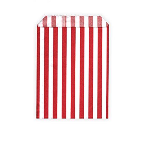 HouseholdBasics 50 Stück - Papierbeutel / Partytüten / Candy Bags - für Geschenke, Karten - Verschiedene Größen und Muster (13 x 18 cm, rot / weiß (gestreift))