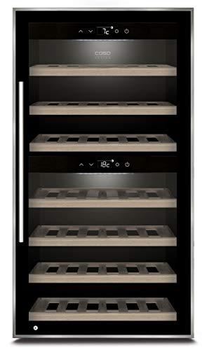 Caso WineComfort 66 black | Weinkühlschrank für 66 Flaschen | 2 Zonen auf 5-20°C einstellbar, Touch, LED beleuchtet freistehend, UV-Filterglas, Schwarz