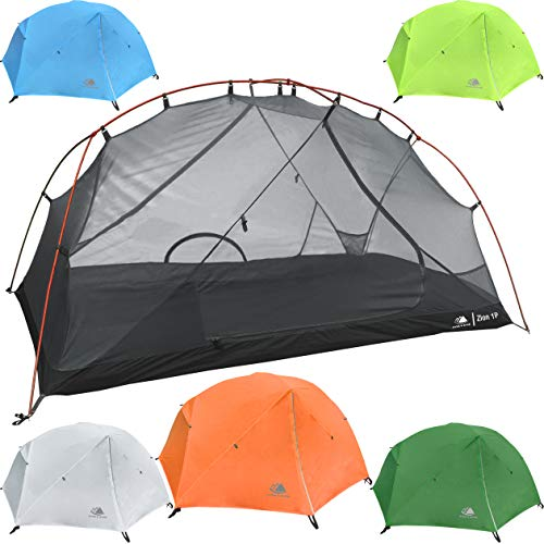 Hyke & Byke 1 Person Backpacking Tent with Footprint - Lightweight Zion One Man 3 Season Ultralight, Waterproof, Ultra Compact 1P Freestanding Backpack Tents for Camping and Hiking (Orange)