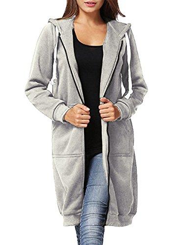 Dongpai Women's Casual Zip Up Hoodie Solid Long Jacket Sweatshirt Outerwear Plus Size