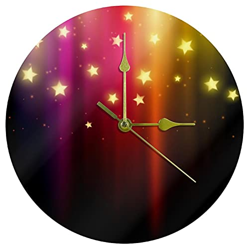 Yoliveya Reloj de pared redondo con fondo silencioso de estrellas de colores decorativas, no hace tictac, silencioso, para regalo, hogar, oficina, cocina, guardería, sala de estar, dormitorio, 25 cm