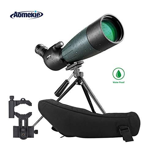 AOMEKIE 20-60X80 Spotting Scope with Tripod Phone Adapter Case for Target Shooting Hunting Bird Watching Waterproof Fogproof FMC BAK4 45°Angled Monocular Telescope