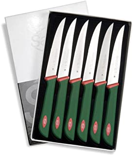 Sanelli Línea Premana Professional,Estuche Cuchillos Chuleta 6 pz,Acero Inoxidable,Verde y Rojo,25.5x15.5x2.0 cm