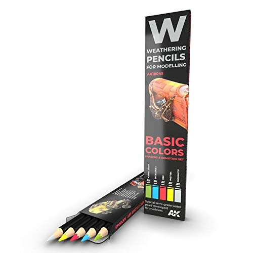 AK Interactive AK 10045, Basic Colors, Weathering Pencil Modelling Set