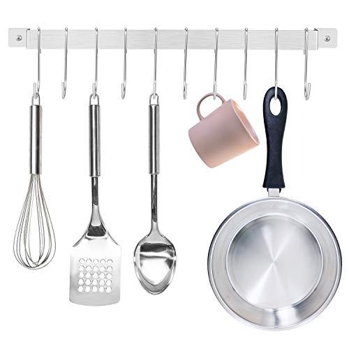 UMI by Amazon -Hakenleiste für Küchenutensilien, Küche Hakenleiste, Hängeorganizer Hängeleiste für Küchenutensilien, Küchenhelfer Topfdeckelhalter mit 10 S-Haken, 43 cm Küchenreling –Edelstahl