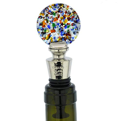 GlassOfVenice Murano Glass Multicolor Round Bottle Stopper