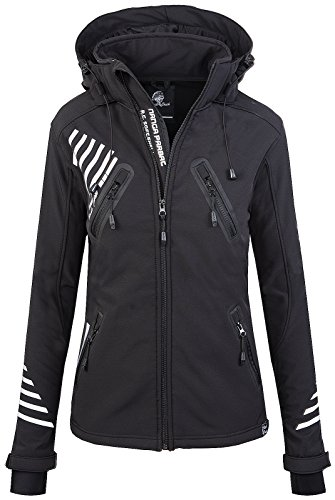 Rock Creek Damen Softshell Jacke Outdoorjacke Windbreaker Übergangs Jacke - Schwarz - 44/XXL