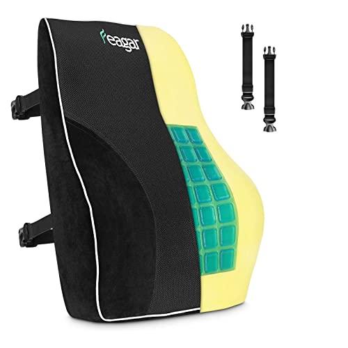 Feagar Cojin Lumbar Coche con Esponja Memoria, Respaldo Lumbar Soporte de Espalda por Office Negro (Esponja&Gel)