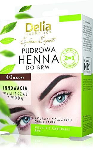 DELIA Cosmetics Henna per sopracciglia in polvere, henne per ciglia, un pacco,colore 4.0 marrone, il pezo 4g, prodotto per le donne