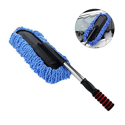 Cepillo de limpieza para coche Jiele, de microfibra, extraíble, mango de microfibra para lavado de coche, color azul
