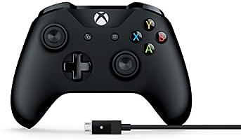 Control Inalámbrico Xbox + Cable para Windows (compatible con Xbox One y Xbox Series) - Color Negro