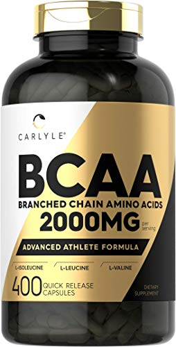 BCAA Amino Acids | 2000mg | 400 BCAA Capsules | Non-GMO Gluten Free Branch Chain Amino Acids Supplements | by Carlyle