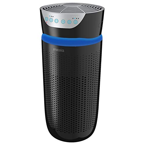 HoMedics TotalClean Tower Air Purifier for Viruses, Bacteria, Allergens, Dust, Germs, HEPA Filter, UV-C Technology, 5-in-1 Purifying with Ionizer, Carbon Odor Filter for Medium-sized Rooms, Home Office, Black