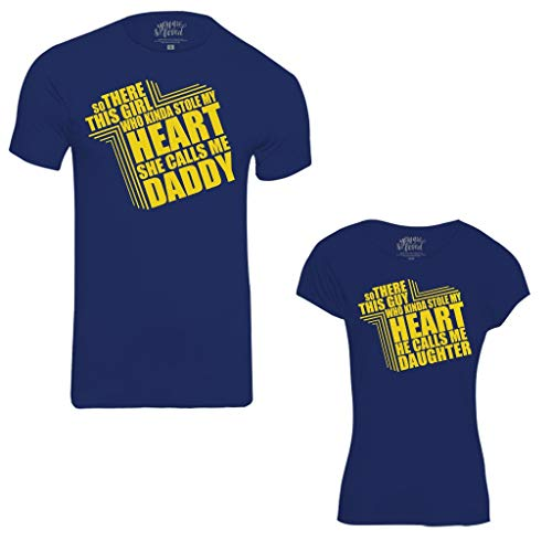 Bon Organik Heart TeesBest Family Matching Dad and Daughter Tshirts Cotton T-Shirt Set for Father and Daughter(Pack of 2) (/Matching Clothes(BON321-HT-NB-MG21 Size:Dad L -Daughter 12-24M) Blue