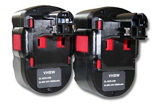 vhbw 2x NiMH batería 3000mAh (24V) para herramienta eléctrica powertools tools Bosch 52324, 52324B, BACCS 24V, GBH-24V, GBH24VF, GCM24V, GKG 24V