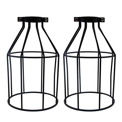 Vintage Käfig Lampenschirm, La Vane 2 Stück Antike Industrielle Kreative DIY Draht Lampenschirm, Flasche Form, Metall, schwarz für Deckenventilator Pendelleuchte Deckenleuchte Wandleuchte