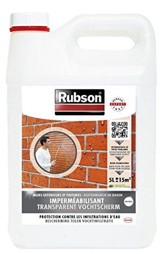 Rubson Stop Infiltrations - Impermeabilizante para muros exteriores (incoloro, base acuosa, garrafa de plástico de 5 L)