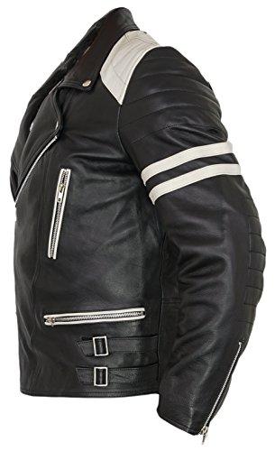 Retro Motorrad Lederjacke 80´s oldschool in verschieden Farben erhältlich (XL, schwarz/weiß) - 3