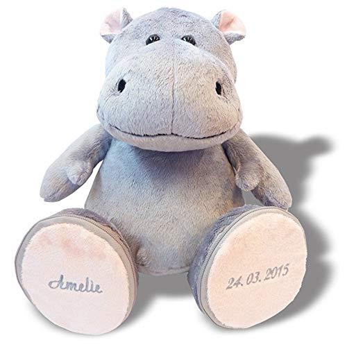 Plüschnilpferd Hippo individuell bestickt 30cm hoch sitzend | Stofftier individualisiert mit eigenen Daten, Geschenk personalisiertes Nilpferd, Plüschtier mit Bestickung zur Geburt | 6I-H258-GP6P