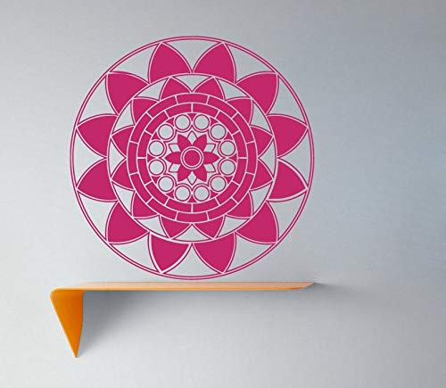 Calcomana Mandala Patrn de flor de loto Adorno de yoga OM Smbolo de Buda indio Vinilo Etiqueta de la pared Dormitorio Sala de estar Estudio Decoracin del hogar Arte Mural Pster
