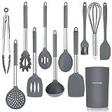 CHASSTOO Silikon Küchenhelfer Set, 12 Stück Küchenutensilien Set, Antihaft Kochgeschirr Set, Hitzebeständig Kochutensilien Set mit Edelstahlgriff, mit Behälter, Einfach zu Reinigen, Grau