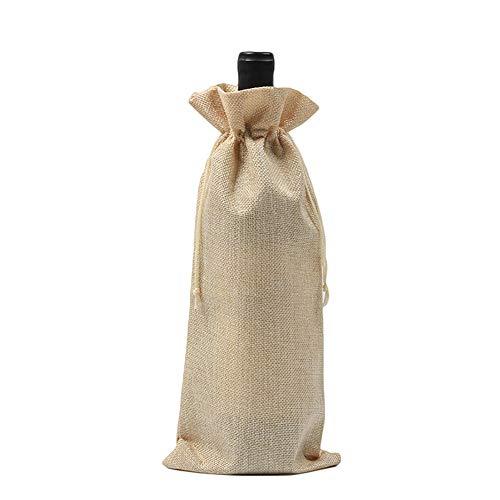 AchidistviQ - Funda de Lino rústico con cordón para Botella de Vino, Bolsa de Embalaje para decoración de Bodas y Fiestas
